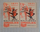 (2) Vintage 1971 Baltimore Orioles Pocket Schedule Pair Beer Advertising
