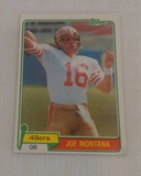 Vintage 1981 Topps NFL Football #216 Joe Montana Rookie Card RC 49ers Nice w/ Stain HOF