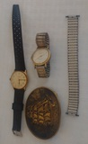 Vintage 1976 Clipper Ship Belt Buckle & 2 Watches Means Lucerns Shock Resistant Timex Parts Lot