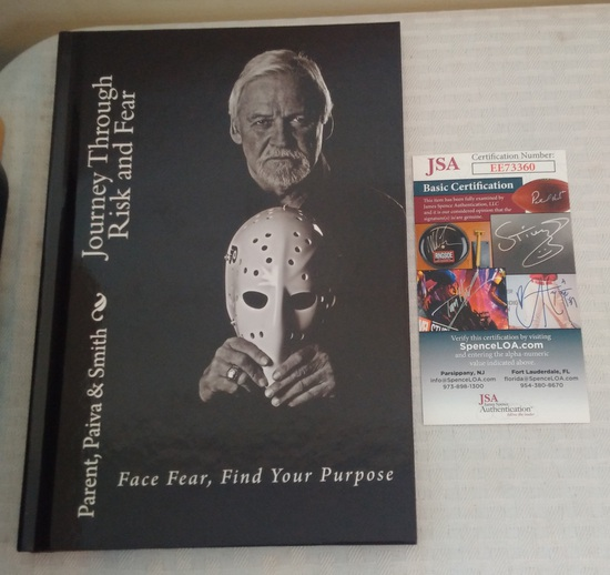Bernie Parent Autographed Signed NHL Hockey Book Journey Through Risk And Fear JSA COA Flyers