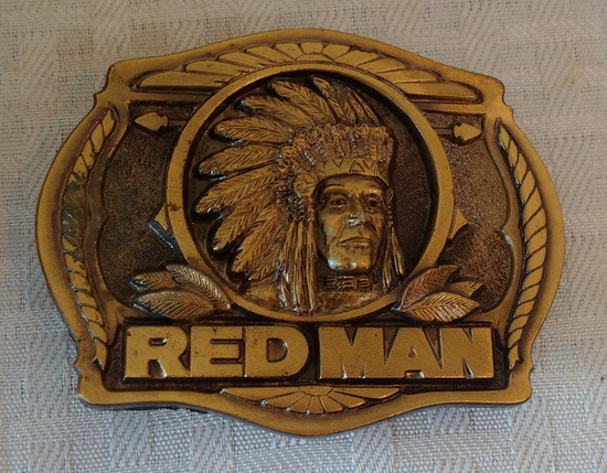 Vintage 1988 Red Man Tobacco Advertising Belt Buckle Unused Metal