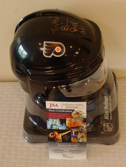 Brian Propp NHL Hockey Mini Helmet Flyers Autographed Signed JSA COA Guffaw Inscription