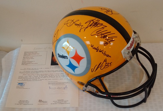 Full Size NFL Football Helmet Steelers Multi Team Signed Autographed JSA 19+ Signatures Yellow