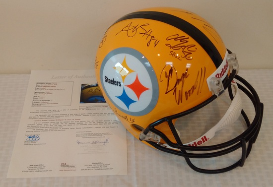 Full Size NFL Football Helmet Steelers Multi Team Signed Autographed JSA 12 Signatures Yellow