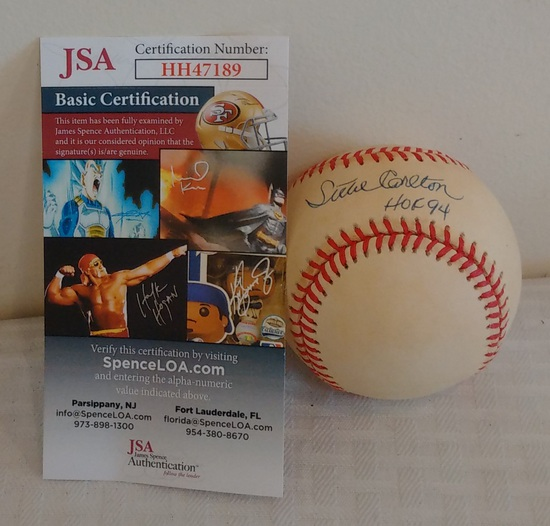 Phillies Steve Carlton Autographed ROMLB Baseball JSA COA Cardinals HOF 94 Inscription