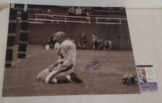 Y.A. Tittle Autographed Signed 16x20 Photo Giants HOF JSA COA HOF 71 Inscription Bloody Shot