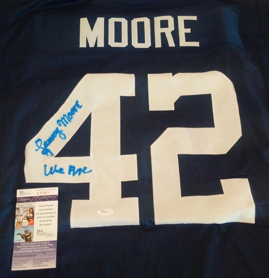 Lenny Moore Penn State PSU Custom Jersey We Are Inscription Signed Autographed JSA HOF XL NFL