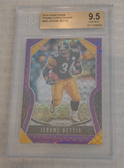 2019 Panini Prizm Purple Power #285 Jerome Bettis Insert Steelers 30/49 NFL BGS GRADED 9.5 GEM MINT