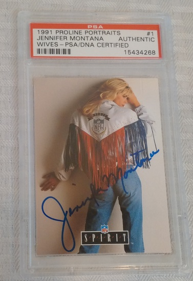 1991 Pro Line Portraits #1 Autographed NFL Football Card Jennifer Montana PSA Slabbed Rare Wives