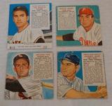 4 Vintage 1950s Red Man Tobacco Baseball Card Lot Nellie Fox Maglie w/ Tab Jones Mize