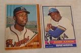 2 Vintage Hank Aaron Baseball Card Lot Pair 1962 1976 Topps Braves HOF