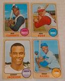 4 Vintage 1968 Topps Baseball Card Lot Roberto Clemente Ernie Banks Pete Rose Sonny Jackson