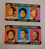 2 Vintage 1970-71 Topps NBA Basketball Leader Card Lot #1 Alcinder West Hayes Tallboy Cards