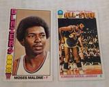 2 Vintage 1976-77 Topps NBA Basketball Star Pair Moses Malone #101 Kareem Abdul Jabbar Lakers #126