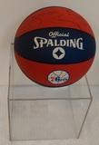 Dr J Julius Erving Auto Sign-ed NBA 76ers Full Size Rubber Basketball ABA w/ Case Cube HOF Auth
