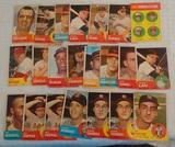 22 Vintage 1963 Topps Baseball Card Lot