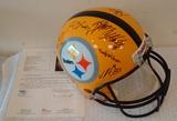 Full Size NFL Football Helmet Steelers Multi Team Signed Autographed JSA 19+ Signatures Yellow