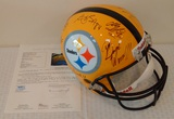 Full Size NFL Football Helmet Steelers Multi Team Signed Autographed JSA 12 Signatures Yellow