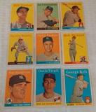 9 Vintage 1958 Topps Baseball Card Lot Kell Haddix Solid