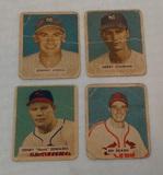 4 Vintage 1949 Bowman Baseball Card Lot Low Grade