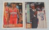 2 Allen Iverson NBA Rookie Card Pair RC 76ers HOF 1996-97 Topps #171 & Stadium Club #SM15