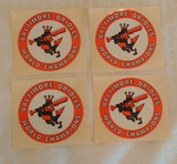 4 Vintage Baltimore Orioles World Champions Sticker Decal Lot 1960s