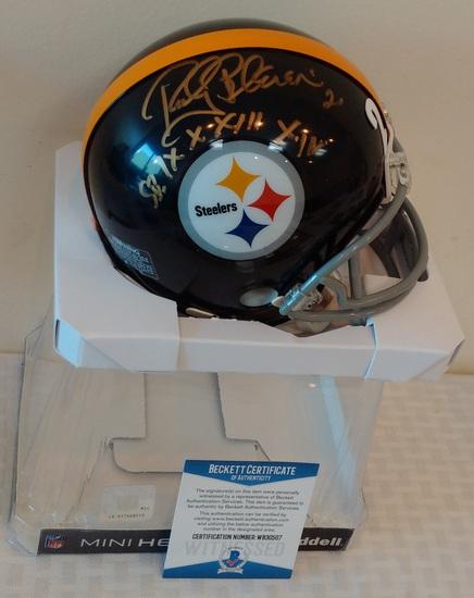 Rocky Bleier Autographed Signed Mini Football Helmet Steelers BAS COA SB Champs Inscription