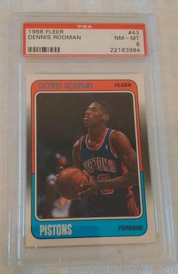1988-89 Fleer NBA Basketball Rookie Card RC #43 Dennis Rodman Pistons HOF PSA GRADED 8 NRMT MINT
