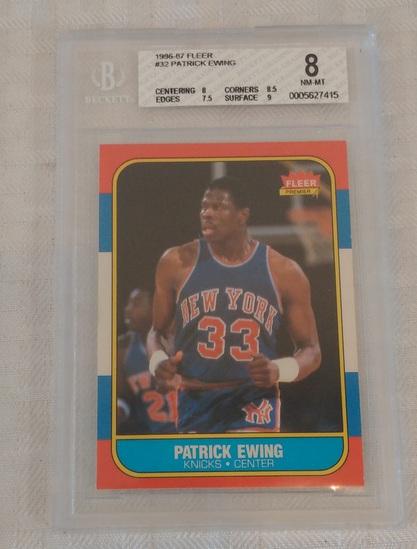 1986-87 Fleer NBA Basketball #32 Patrick Ewing Knicks RC HOF Key Vintage BGS 8 GRADED NM-MT Rookie