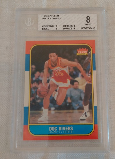 1986-87 Fleer NBA Basketball #91 Doc Rivers Hawks RC Key Vintage BGS 8 GRADED NM-MT Rookie Coach