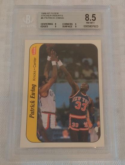 1986-87 Fleer NBA Sticker #32 Patrick Ewing Knicks RC HOF Key Vintage BGS 8.5 GRADED NM-MT+ 9 Subs