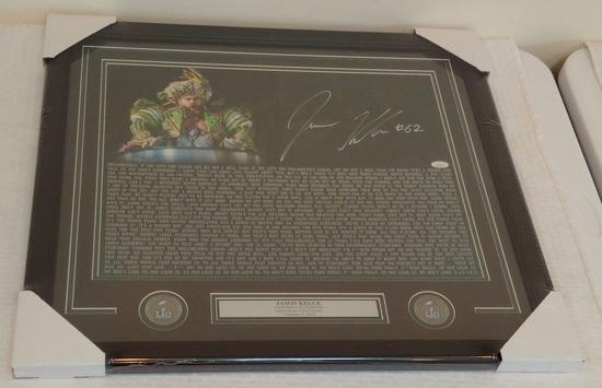 Jason Kelce Autographed Signed 16x20 Photo Speech Eagles Super Bowl Parade JSA COA Framed Matted NFL