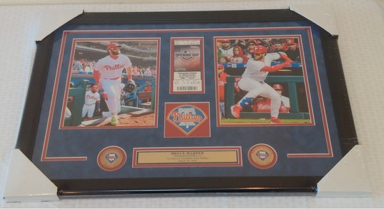 Bryce Harper Phillies Framed & Matted Photo 1st Game Ticket Patch Nameplate Gift Man Cave Game Room