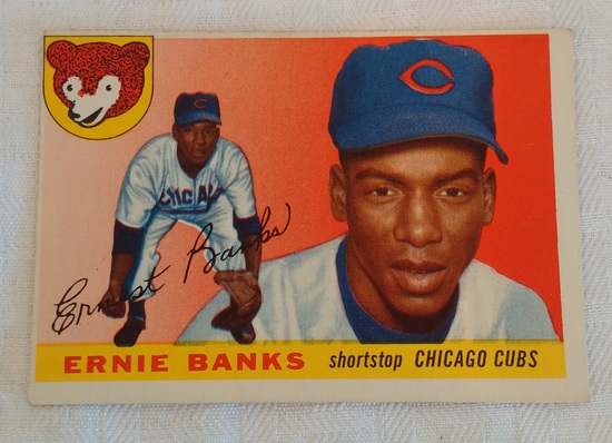 Vintage 1955 Topps Baseball Card #28 Ernie Banks Cubs HOF
