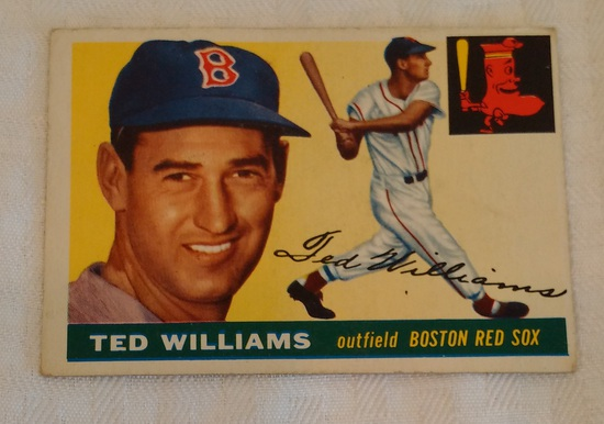 Vintage 1955 Topps Baseball Card #2 Ted Williams Red Sox HOF