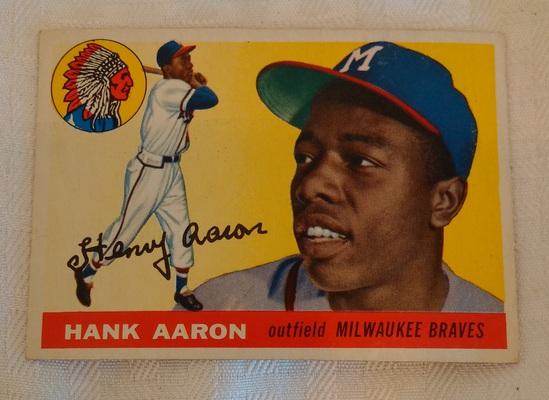 Vintage 1955 Topps Baseball Card #47 Hank Aaron Braves HOF Solid Condition
