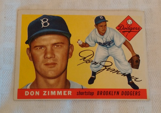 Vintage 1955 Topps Baseball Card #92 Don Zimmer Dodgers Rookie RC