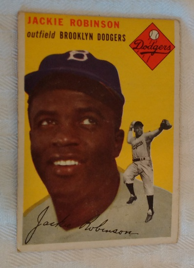 Vintage 1954 Topps Baseball Card #10 Jackie Robinson Dodgers HOF Key Solid Condition