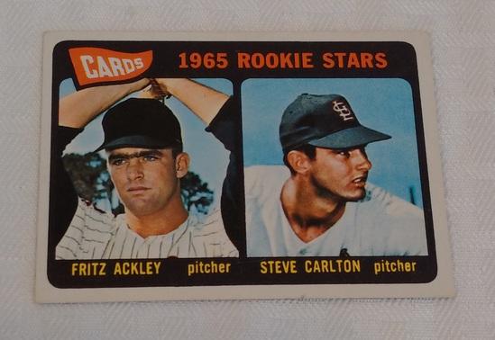 Key Vintage 1965 Topps Baseball #477 Steve Carlton Rookie Card RC Cardinals Ackley HOF Phillies