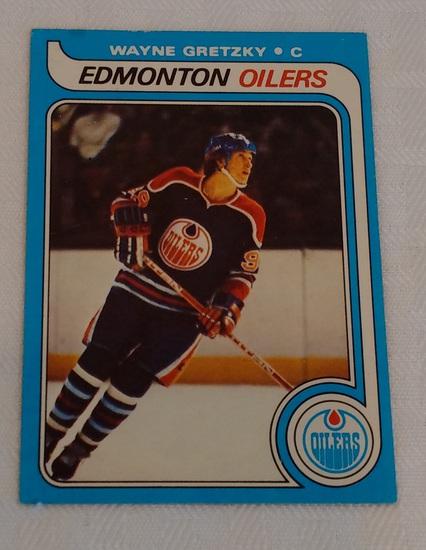 Key Vintage 1979-80 Topps NHL Hockey #18 Wayne Gretzky Rookie Card RC Oilers Solid Mid Grade HOF