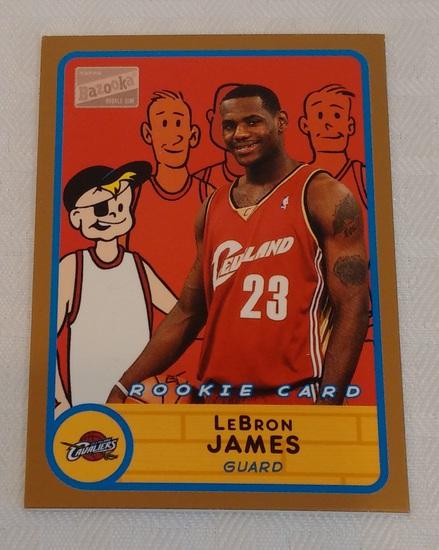2003-04 Bazooka NBA Basketball #276 LeBron James Rookie Card RC Cavaliers Cavs Gold Insert Version