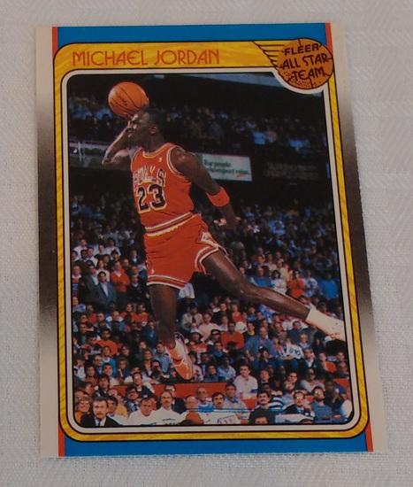 Key Vintage 1988-89 Fleer NBA Basketball Card #120 Michael Jordan All Star Team 3rd Year Bulls HOF