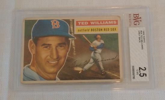 Vintage 1956 Topps Baseball Card #5 Ted Williams Red Sox HOF Beckett GRADED 2.5 Gray Grey Back