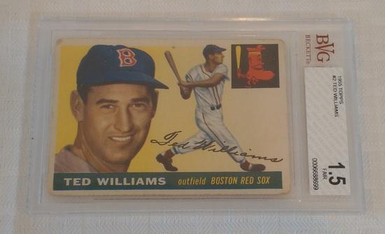 Vintage 1955 Topps Baseball Card #2 Ted Williams Red Sox HOF Beckett GRADED 1.5