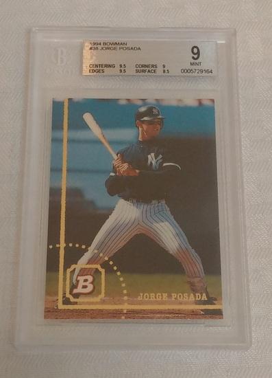 1994 Bowman Baseball Rookie Card #38 Jorge Posada Yankees BGS GRADED 9 MINT RC MLB