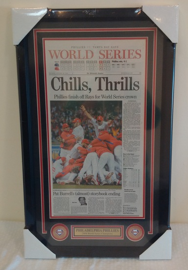 2008 Phillies World Series Inquirer Champions Newspaper Page Framed & Matted Gift Man Cave Game Room