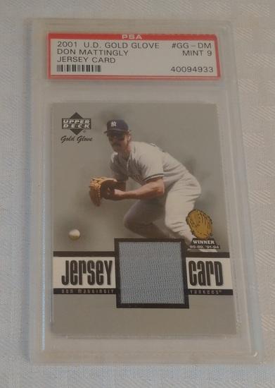 2001 Upper Deck Gold Glove GU Jersey Relic Insert Card Don Mattingly Yankees PSA GRADED 9 MINT