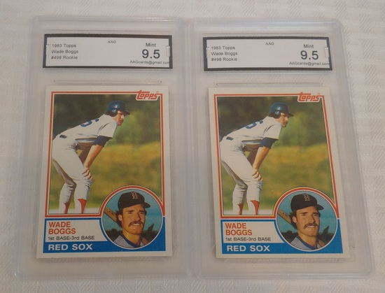 (2) Key Vintage 1983 Topps Baseball Rookie Card RC #498 Wade Boggs Red Sox GRADED 9.5 MINT HOF Nice