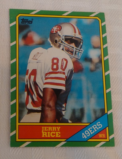 Key Vintage 1986 Topps NFL Football Rookie Card RC #161 Jerry Rice 49ers HOF Nice Solid Condition