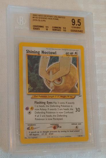 2002 Neo Destiny Unlimited Pokemon #110 Shining Noctowl Holo Card BGS Beckett GRADED 9.5 GEM Owl